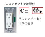 シンボル 記号 2口コンセント(ダブルコンセント) 2E 接地極付 接地極 2P15A